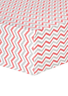 Trend Lab Coral and Gray Chevron Deluxe Flannel Fitted Crib Sheet