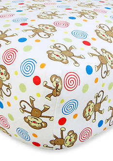 Trend Lab Monkeys Flannel Fitted Crib Sheet - Online Only