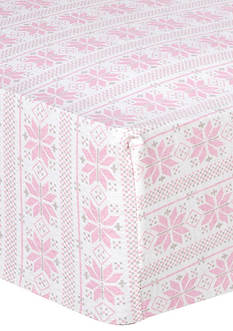Trend Lab Pink Fair Isle Deluxe Flannel Fitted Crib Sheet
