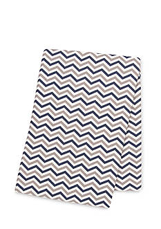 Trend Lab Navy and Gray Chevron Deluxe Flannel Swaddle Blanket
