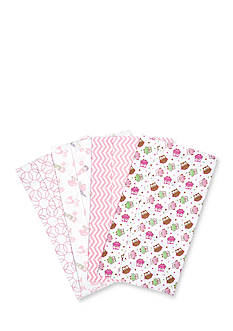 Trend Lab Owl Garden 4 Deluxe Flannel Burp Cloths