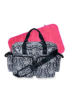 Trend Lab Midnight Fleur Damask Deluxe Duffle Diaper Bag