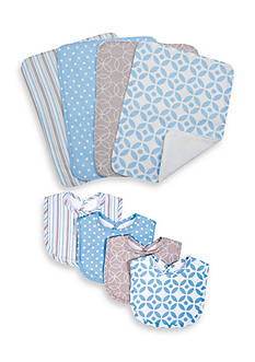 Trend Lab Logan 4 Pack Bib and 4 Pack Burp Cloth Bouquet Set
