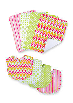 Trend Lab Savannah 4 Pack Bib and 4 Pack Burp Cloth Bouquet
