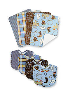 Trend Lab Cowboy Baby 4 Pack Bib and 4 Pack Burp Cloth Bouquet Set
