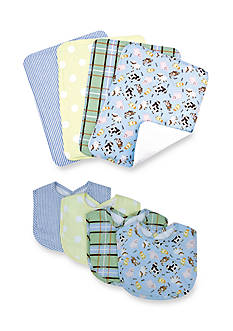 Trend Lab Baby Barnyard 4 Pack Bib and 4 Pack Burp Cloth Set - Online Only