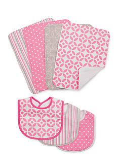 Trend Lab Lily 3 Pack Bib and 4 Pack Burp Cloth Set