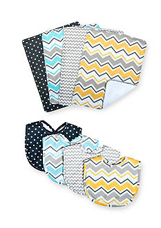 Trend Lab Zigzag Bouquet Bib and Burp Cloth Set