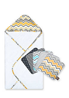 Trend Lab Buttercup Zigzag Bouquet Hooded Towel and Wash Cloth Set