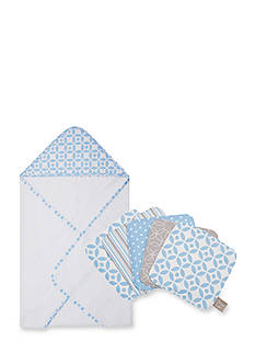 Trend Lab Logan Hooded Towel and 6-Pack Wash Cloth Set