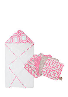 Trend Lab Lily Hooded Towel and 5 Pack Wash Cloth Set