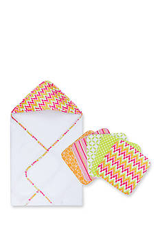 Trend Lab Savannah Hooded Towel and 5 Pack Wash Cloth Set