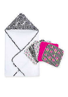 Trend Lab Zahara Hooded Towel and 5-Pack Wash Cloth Set