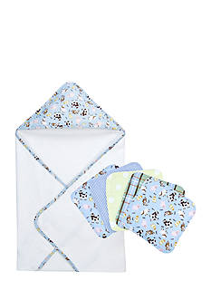 Trend Lab Baby Barnyard Hooded Towel and 5 Pack Wash Cloth Set - Online Only