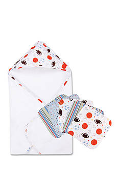 Trend Lab Little MVP Hooded Towel and 6-Pack Wash Cloth Set