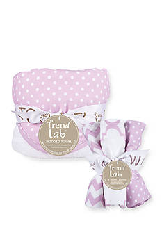 Trend Lab Orchid Bloom Six-Piece Dot Hooded Towel and Wash Cloth Set