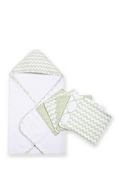 Trend Lab Sea Foam Six-Piece Chevron Hooded Towel and Wash Cloth Set