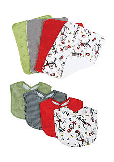 Trend Lab Dr. Seuss The Cat in the Hat 4 Pack Bib and 4 Pack Burp Cloth Set - Online Only