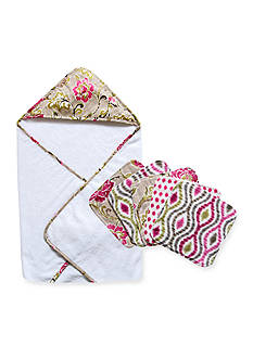 Waverly Jazzberry Hooded Towel and 5 Pack Wash Cloth Set