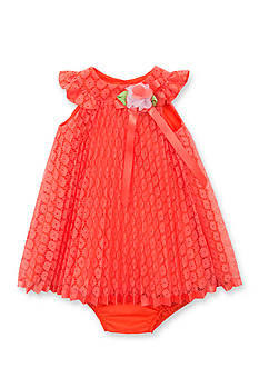 Rare Editions Coral Pleated Lace Dress