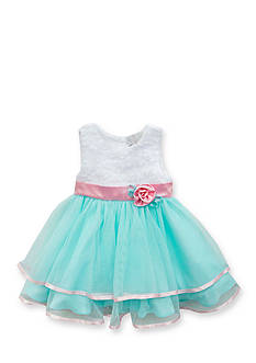 Rare Editions Soutach to Double Ruffle Mesh Dress Toddler Girls