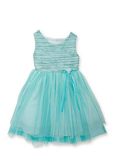 Rare Editions Glitter Stripe to Tulle Dress Toddler Girls