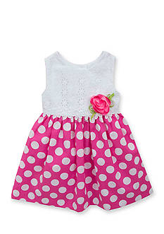 Rare Editions Eyelet to Polka Dot Dress Toddler Girls