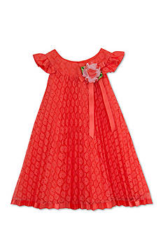 Rare Editions Lace Pleated Trapeze Dress Toddler Girls