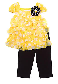 Rare Editions Yellow Dot Chiffon Set Toddler Girl