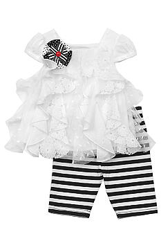 Rare Editions White Ruffle legging Set Toddler Girls