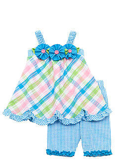 Rare Editions Seersucker Plaid Capri Set Toddler Girls