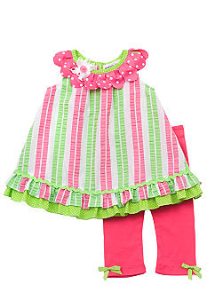 Rare Editions Stripe Seersucker Capri Set Toddler Girls