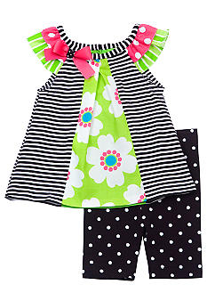 Rare Editions Stripe and Dot Short Set Toddler Girls