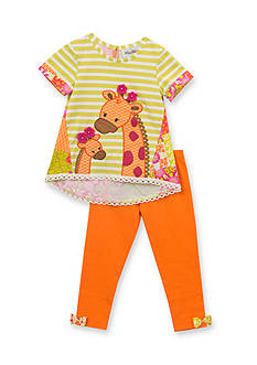 Rare Editions 2-Piece Stripe Giraffe Top and Legging Set Toddler Girls