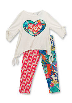 Rare Editions Mixed Heart Top and Leggings Set Toddler Girls