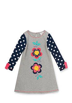Rare Editions Polka Dot Flower Dress Toddler Girl