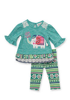 Rare Editions 2-Piece Floral Elephant Top and Muti Color Legging Set Baby/Infant Girl