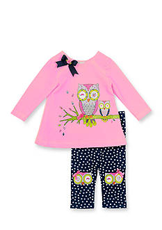 Rare Editions 2-Piece Owl Shirt and Polka Dot Leggings Set