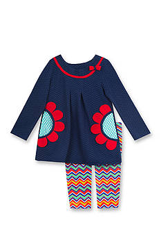 Rare Editions 2-Piece Floral Top and Chevron Leggings Set Baby/Infant Girl