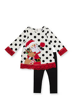 Rare Editions Santa Polka Dot Tunic & Legging Set Infant/Baby Girls