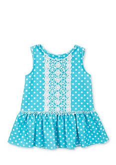 Rare Editions Polka Dot Lace Inset Dress