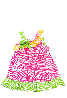 Rare Editions Fuchsia Zebra One-Shoulder Dress Toddler Girls