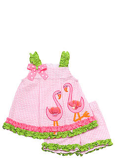 Rare Editions Flamingo Seersucker Short Set Toddler Girls