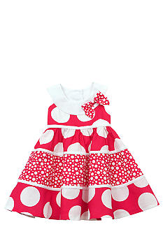 Rare Editions Tiered Mixed Dot Dress Toddler Girls