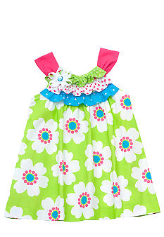 Rare Editions Lime Floral U-Neck Dress Toddler Girls