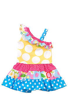 Rare Editions Yellow Polka Dot Dropwaist Dress Toddler Girls