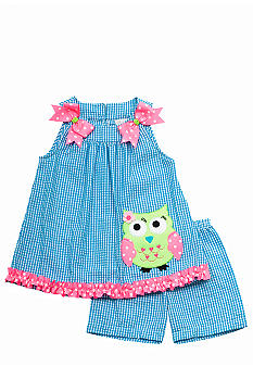 Rare Editions Seersucker Owl Short Set Toddler Girls