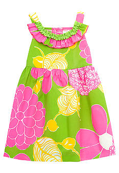 Rare Editions Green and Pink Floral Dress Toddler Girls