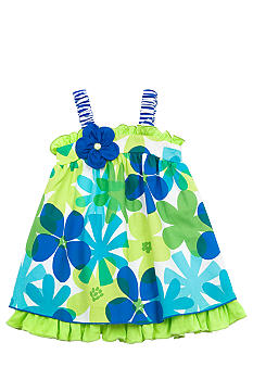 Rare Editions Turquoise Floral Dress Toddler Girls