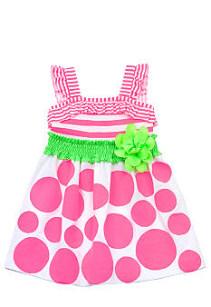 Rare Editions Knit Neon Stripe to Dot Dress Toddler Girls